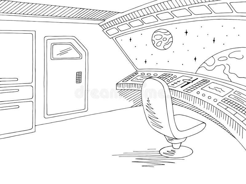 Spaceship interior graphic black white sketch illustration vector royalty free illustration
