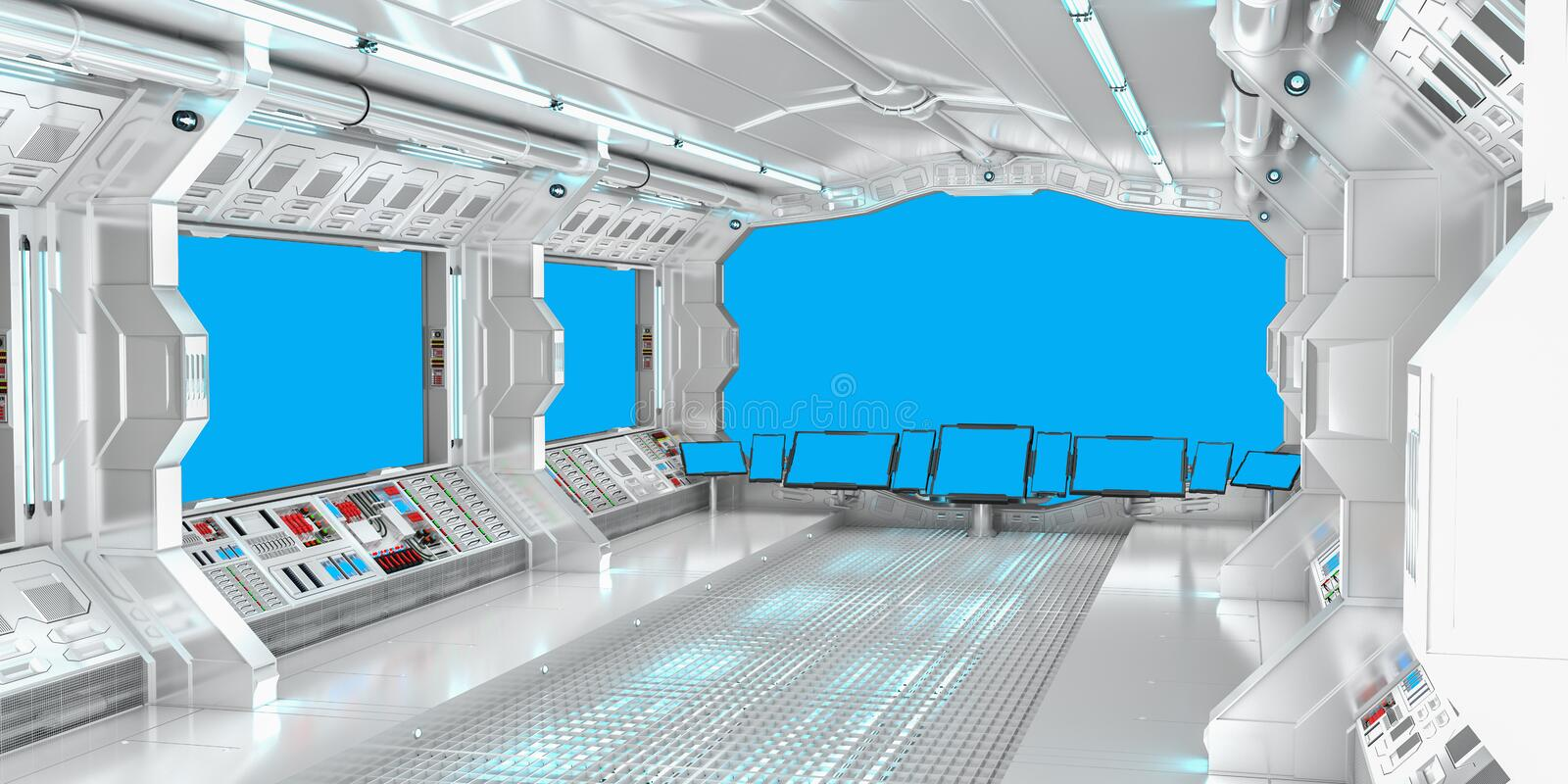 Spaceship interior with view on blue windows 3D rendering vector illustration