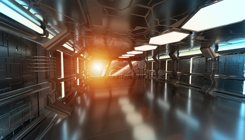 Spaceship interior with view on distant planets system 3D render. Spaceship blue interior with view on space and distant planets system 3D rendering elements of stock illustration