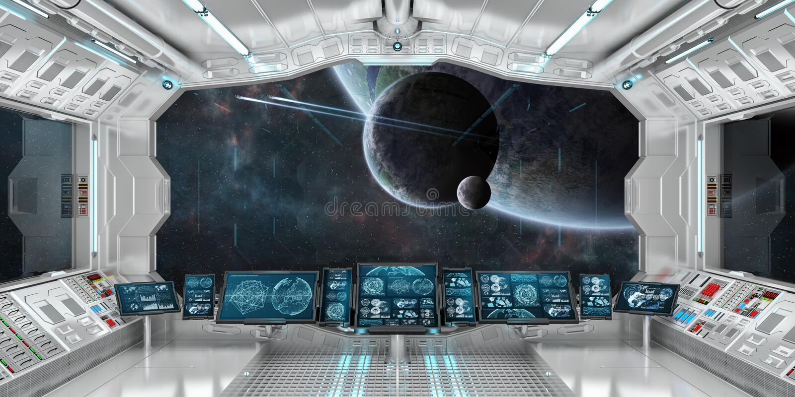 Spaceship interior with view on distant planets system 3D render vector illustration