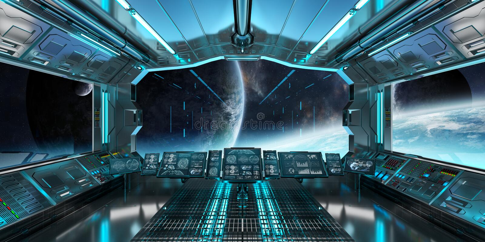 spaceship interior with view on distant planets system 3d render stock illustration. Black Bedroom Furniture Sets. Home Design Ideas