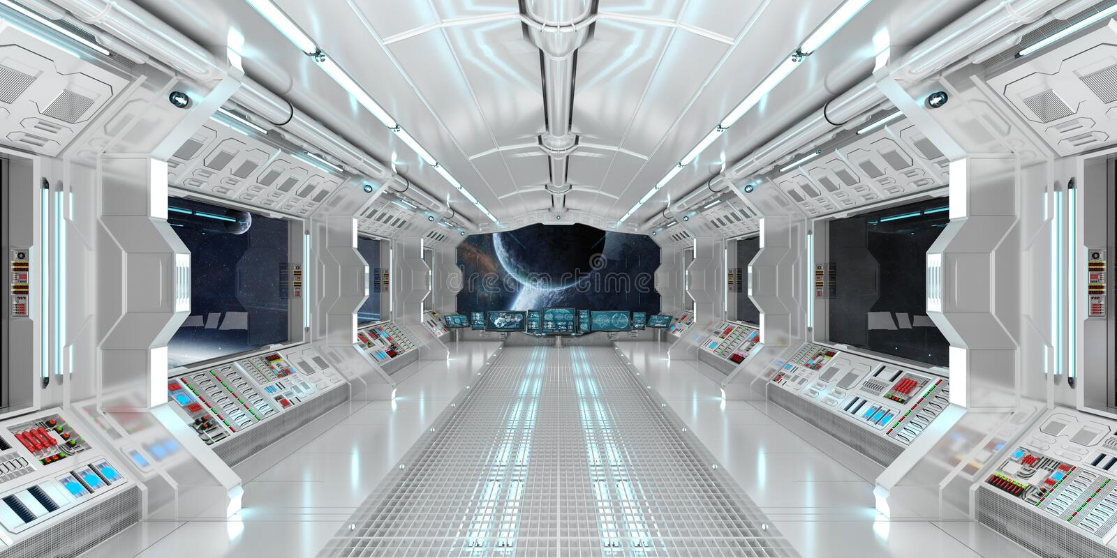 Spaceship interior with view on distant planets system 3D render royalty free illustration