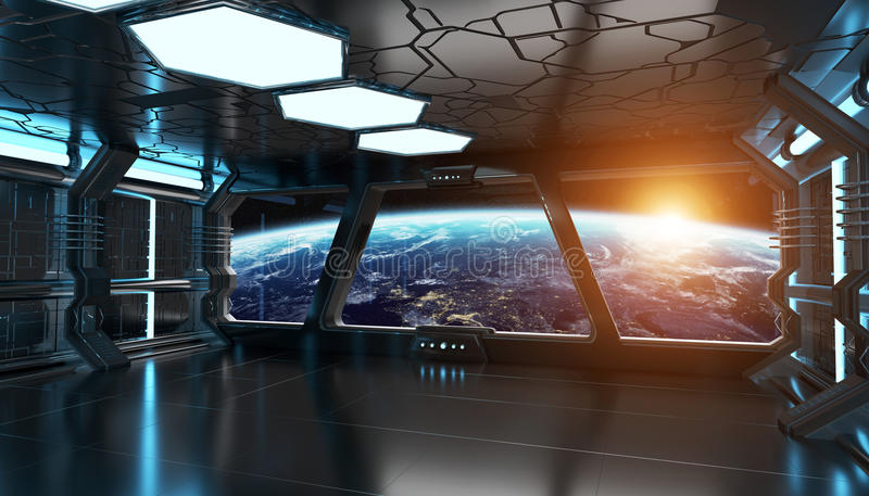 Spaceship interior with view on the planet Earth 3D rendering elements of this image furnished by NASA royalty free illustration