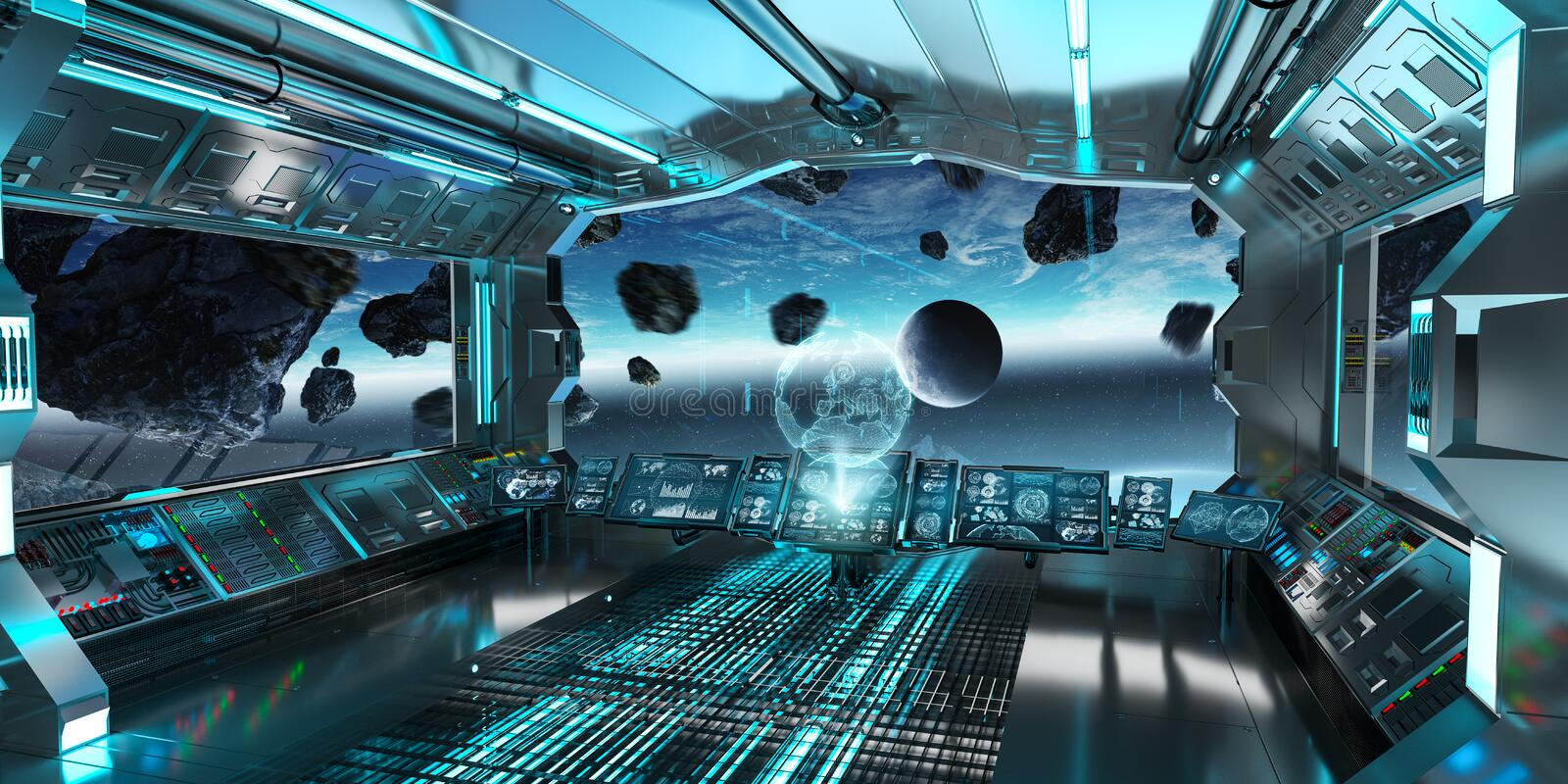 Spaceship interior with view on the planet Earth 3D rendering el vector illustration