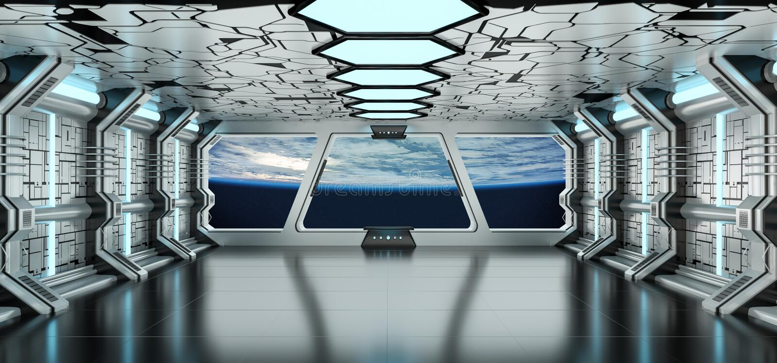 Spaceship interior with view on the planet Earth 3D rendering elements of this image furnished by NASA. Spaceship white and blue interior with view on space and vector illustration
