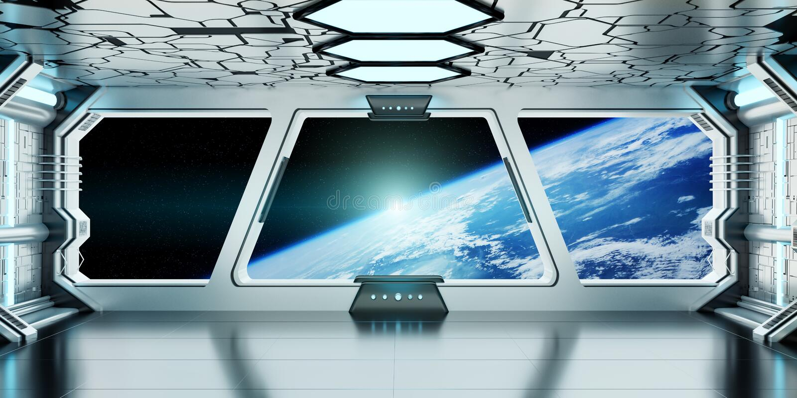 Spaceship interior with view on the planet Earth 3D rendering elements of this image furnished by NASA stock illustration