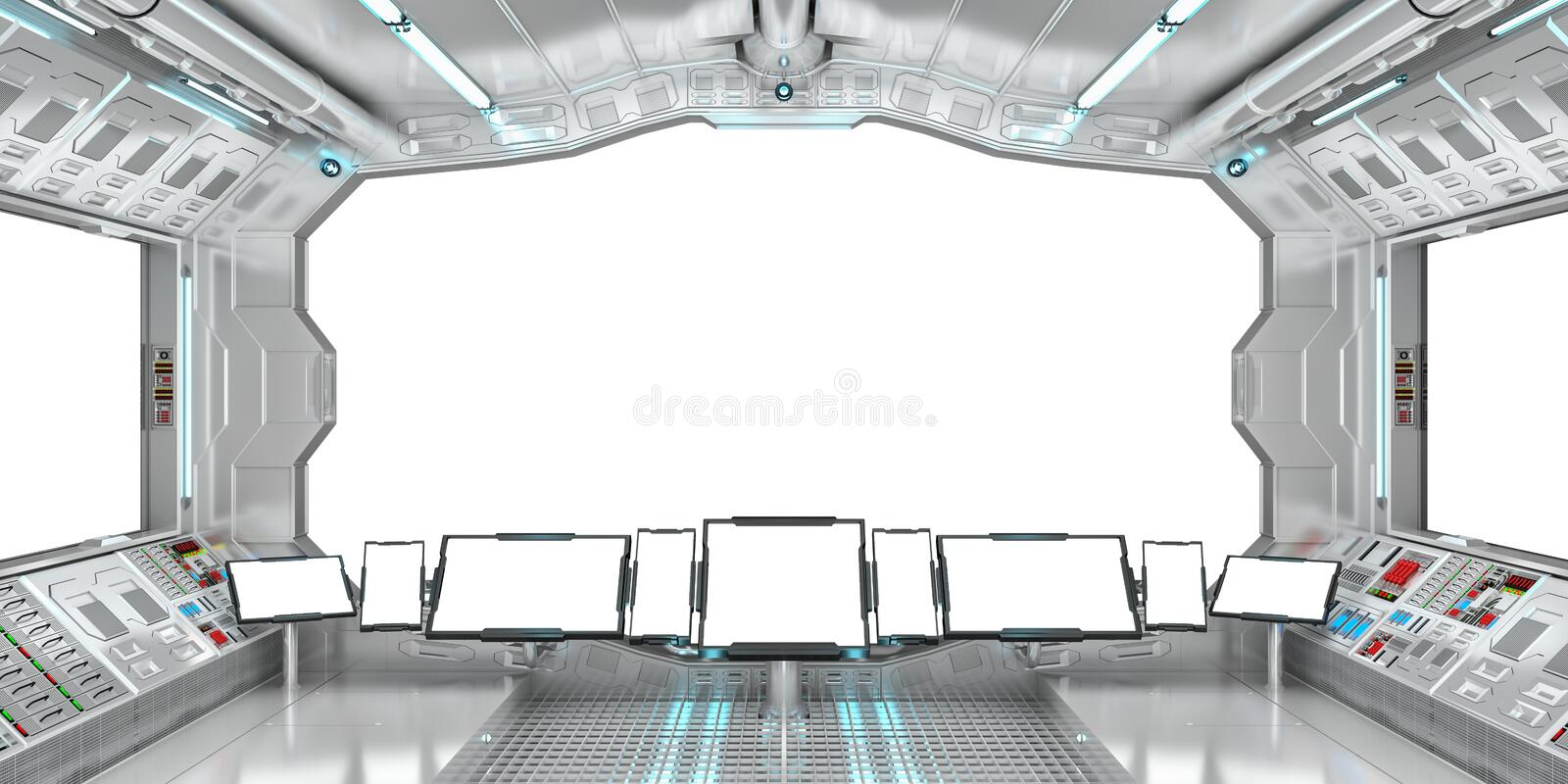 Spaceship interior with view on white windows 3D rendering stock illustration
