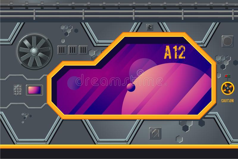 Spaceship interior with window. Rocket room game concept. Futuristic vector background. stock illustration