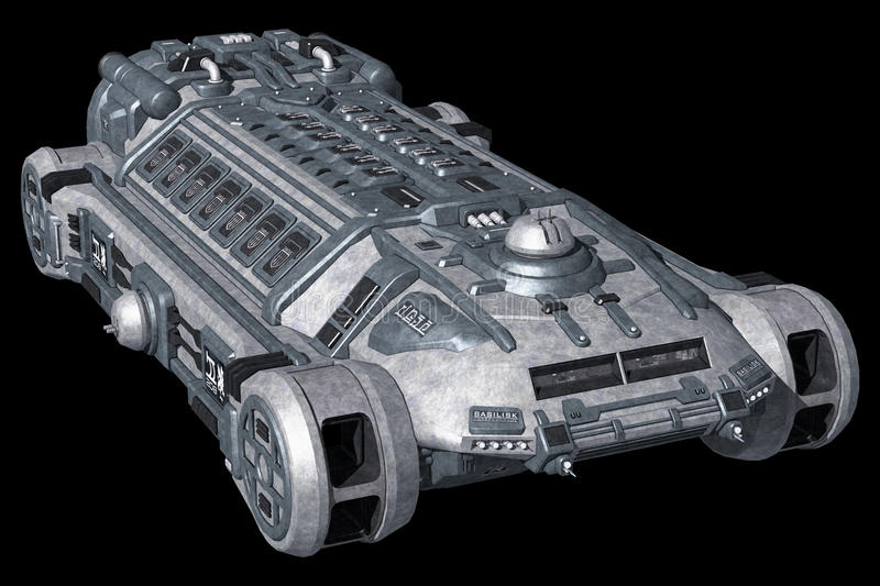 Spaceship isolated on black background royalty free illustration