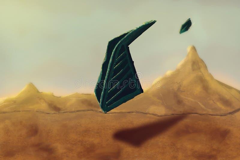 Spaceship landing on planet. Futuristic spacecraft. UFO. Concept Art. Fiction Backdrop. Realistic Illustration.  Nature Scenery stock illustration