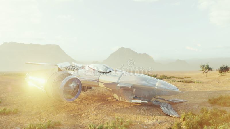 A spaceship lands on a deserted dust alien planet. Concept on space theme. 3D Rendering. A spaceship lands on a deserted dust alien planet. Concept on space stock illustration