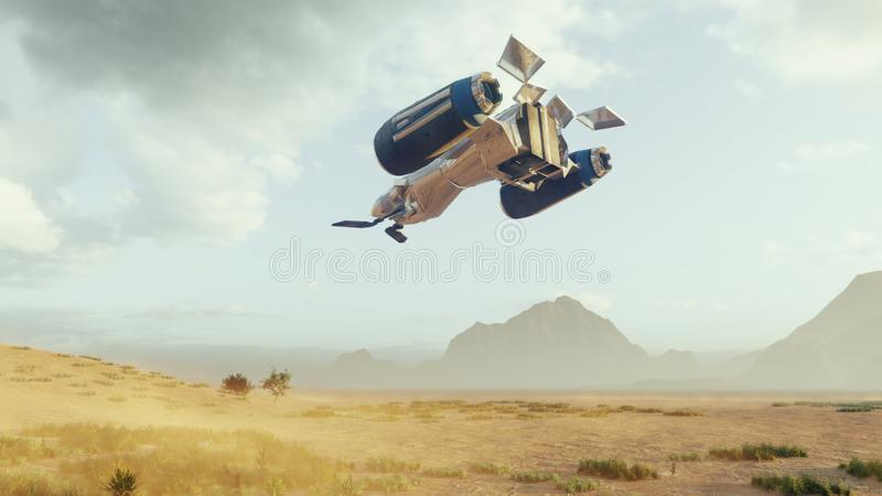 A spaceship lands on a deserted dust alien planet. Concept on space theme. 3D Rendering stock illustration