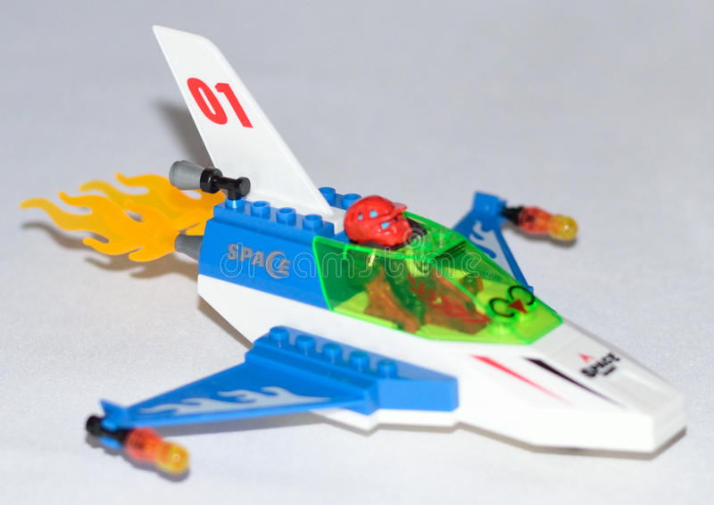 Lego Spaceship. Equipped with bombs guided by jack stock images