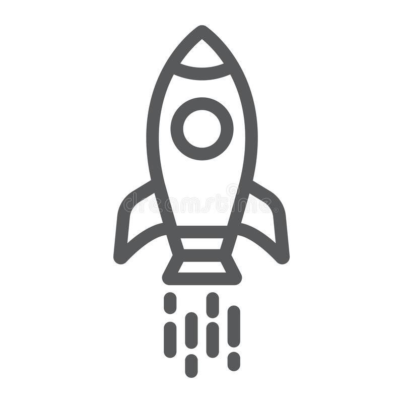 Spaceship line icon, shuttle and cosmos, rocket sign, vector graphics, a linear pattern on a white background. Spaceship line icon, shuttle and cosmos, rocket stock illustration