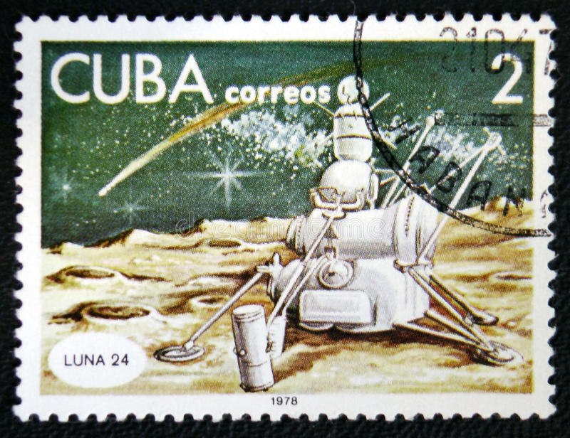 Spaceship Luna 24, circa 1978. MOSCOW, RUSSIA - JANUARY 7, 2017: A stamp printed in Cuba shows spaceship Luna 24, circa 1978 royalty free stock image