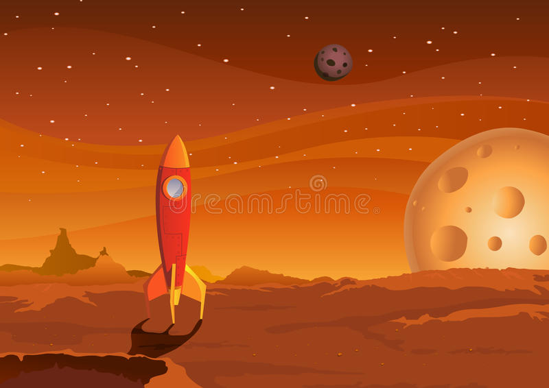 Spaceship-on-martian-landscape vector illustration