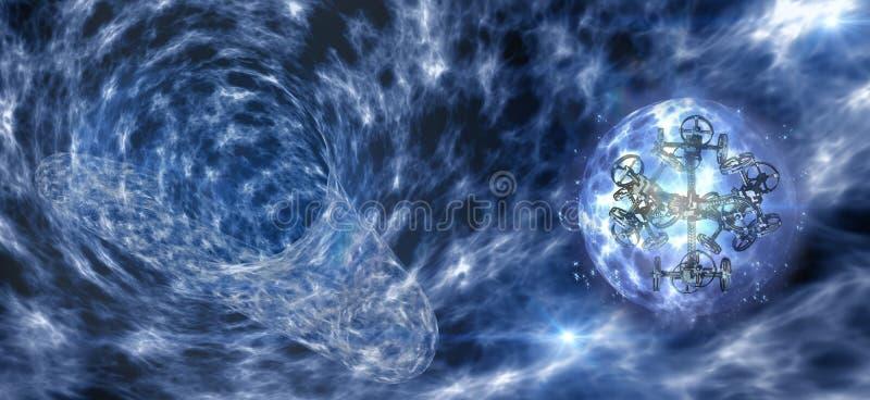 Spaceship mit Gravitation Rädern in ein Wurmloch lizenzfreie abbildung