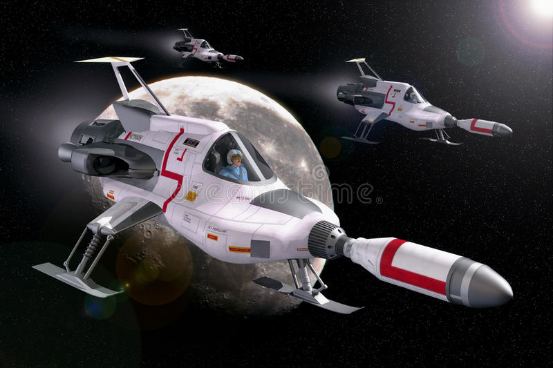 Spaceship and moon royalty free illustration