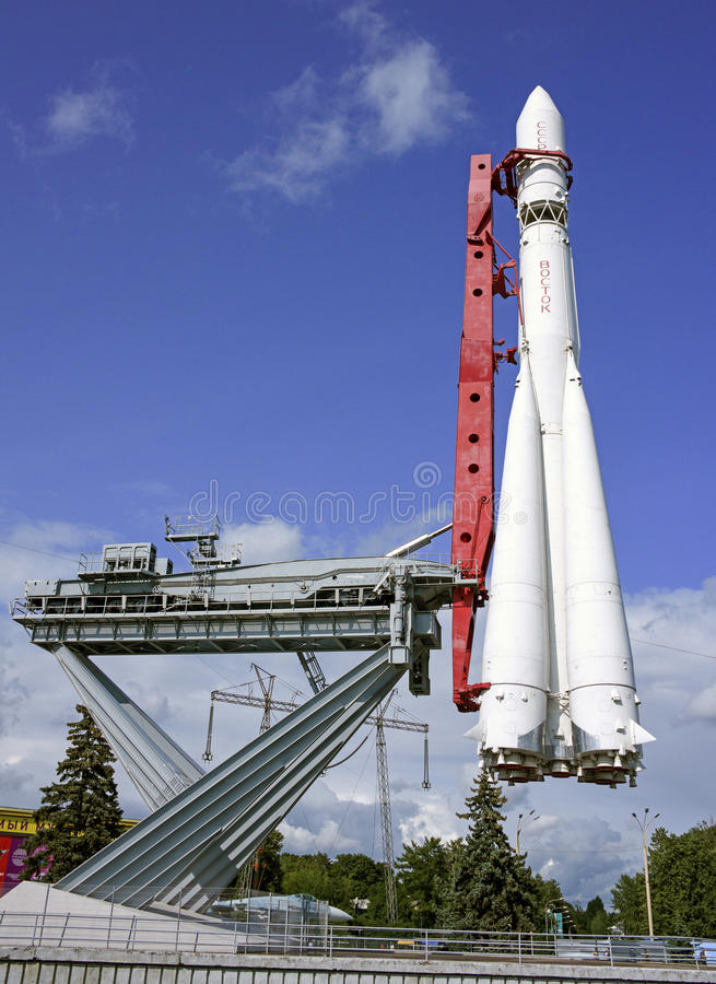 Spaceship. MOSCOW; RUSSIA- JULY 13- Spaceship Vostok on VDNH on July 13; 2015 in Moscow stock photography