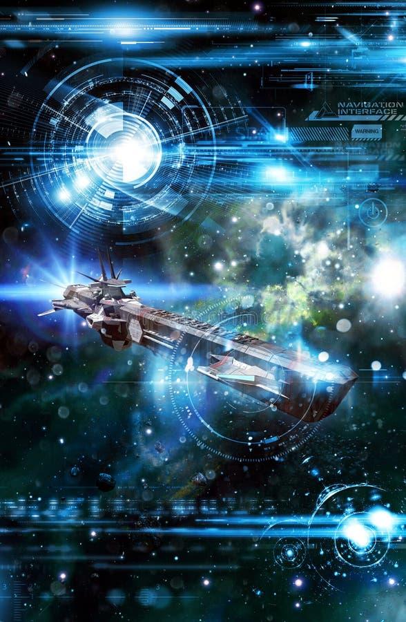 Spaceship and navigation interface. 3D render science fiction illustration stock illustration