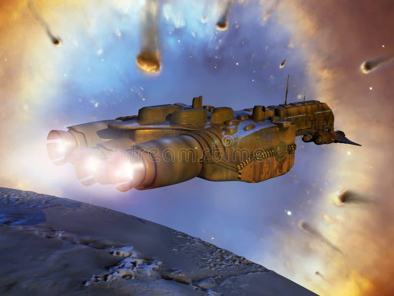 Spaceship near Helix Nebula stock illustration