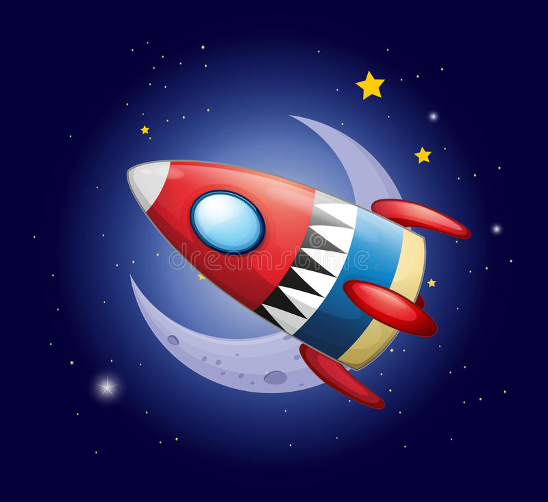 A spaceship near the moon royalty free illustration