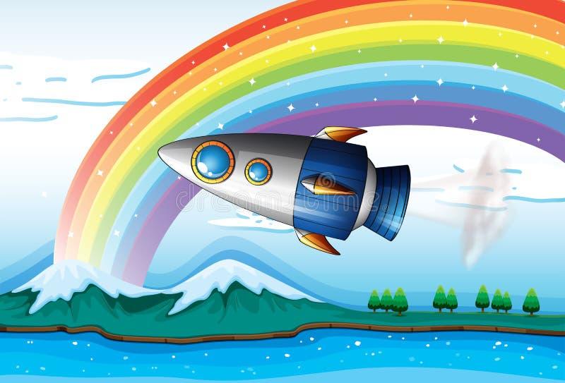 A spaceship near the rainbow above the ocean vector illustration