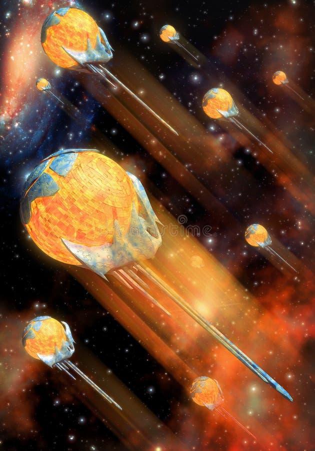 Spaceship and nebula royalty free illustration