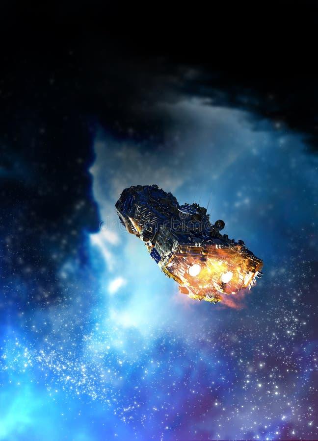 Spaceship and nebula stock illustration