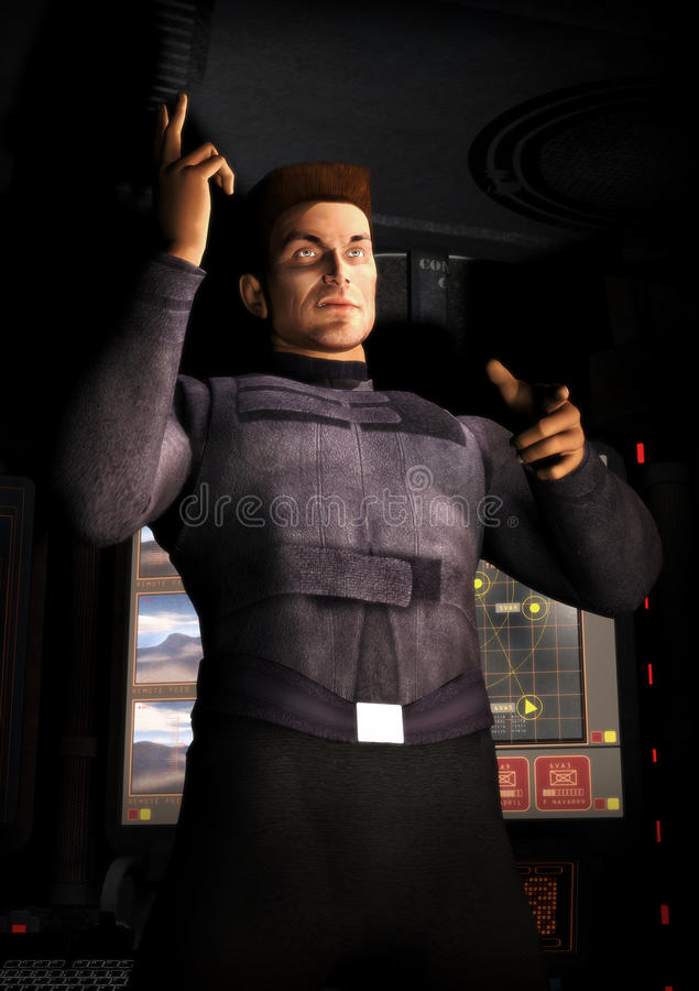 Download Spaceship officer man stock illustration. Image of magazine - 9665898