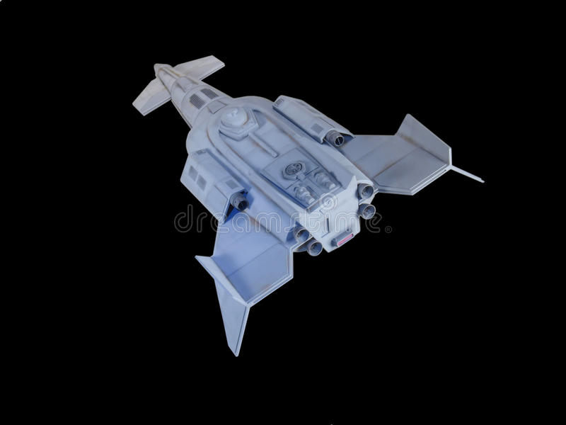Spaceship One. Spaceship traveling against a black background royalty free stock photos