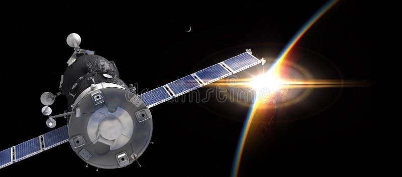 Spaceship on the orbit vector illustration