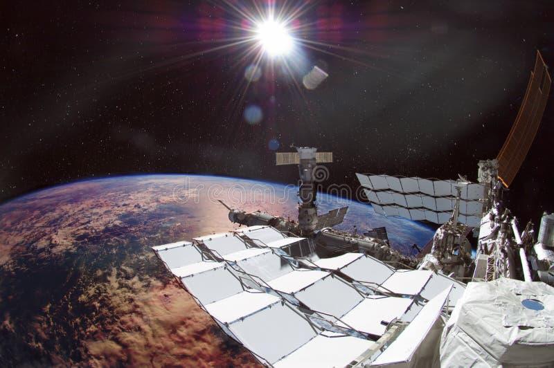 Spaceship on the orbit. royalty free illustration