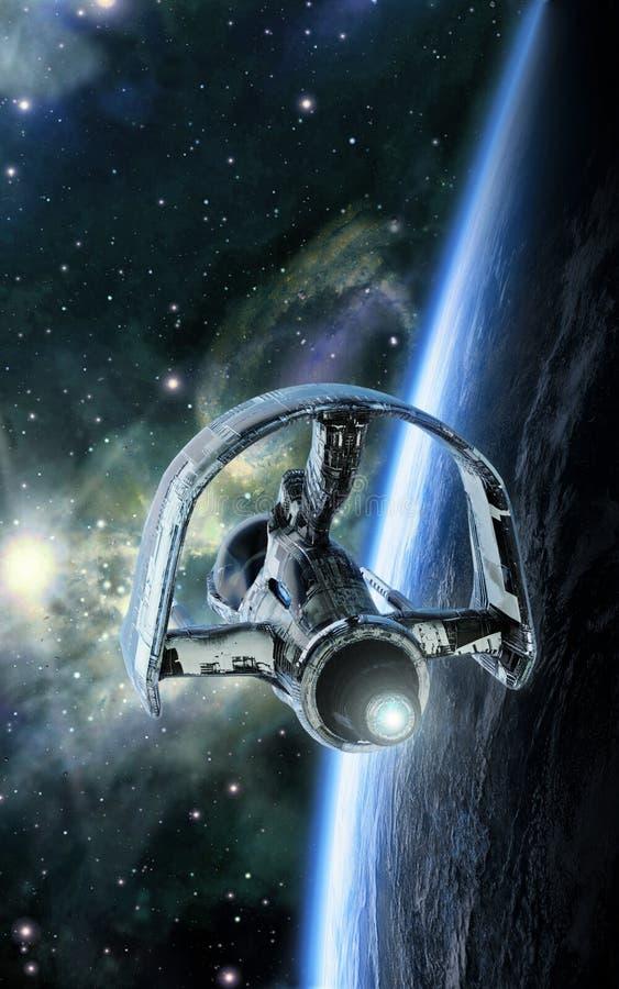 Spaceship orbiting planet stock illustration