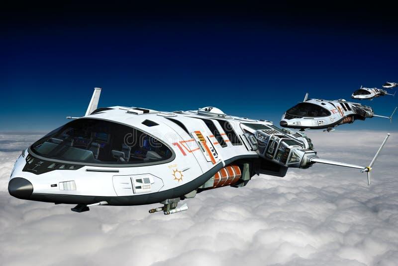 Spaceship ovanför oklarhetsbaksikten vektor illustrationer