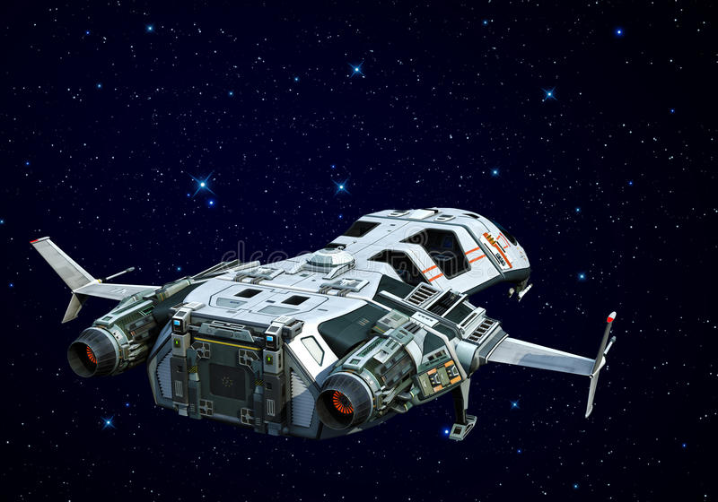 Spaceship ovanför oklarhetsbaksikten royaltyfri illustrationer