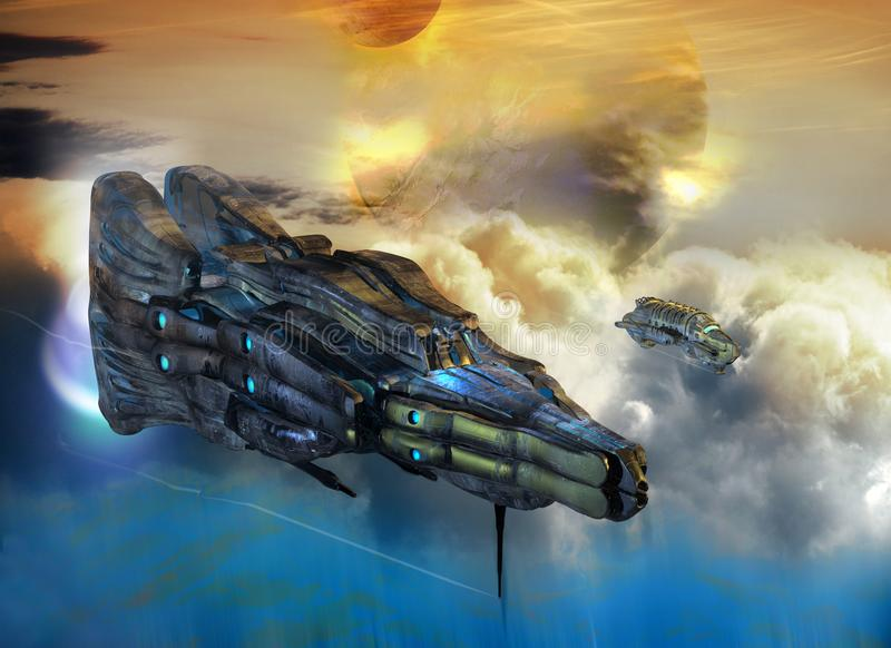 Spaceship over clouds on alien planet royalty free illustration