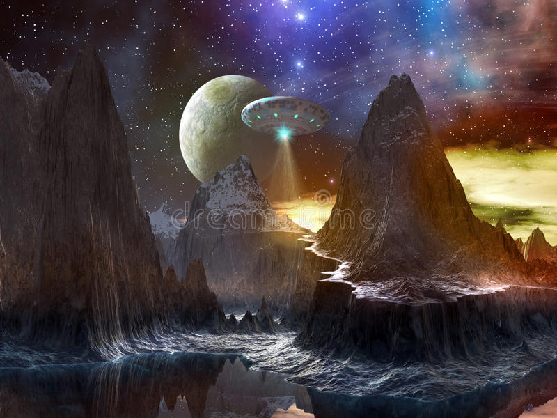Spaceship over Mountain Path on Distant World royalty free illustration