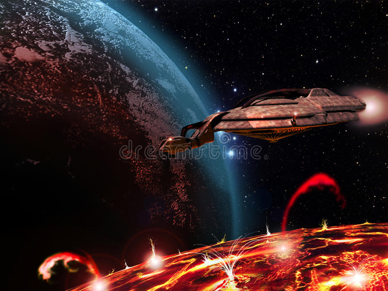 Spaceship over a volcanic satellite stock illustration