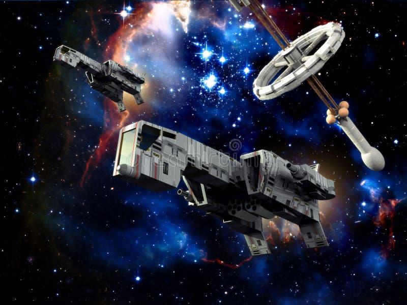 Spaceship patrol royalty free illustration
