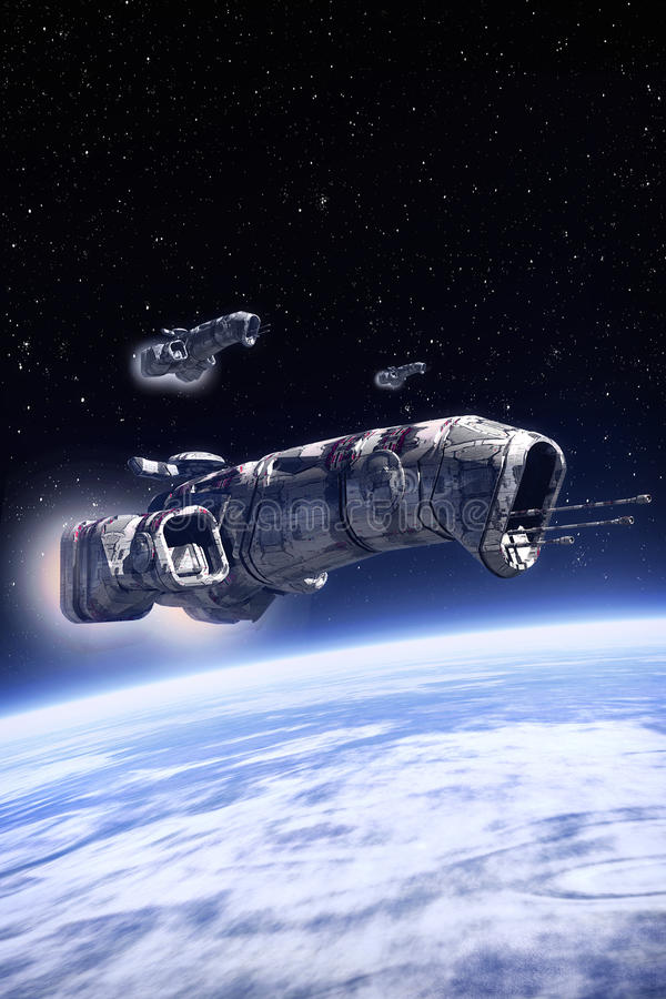 Spaceship on patrol over a planet royalty free illustration