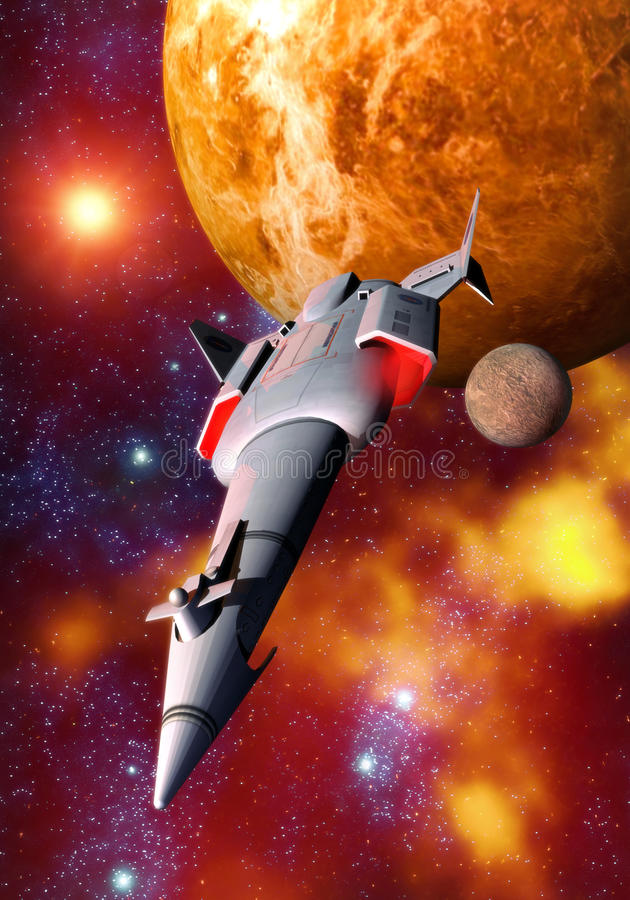 Spaceship and planet vector illustration