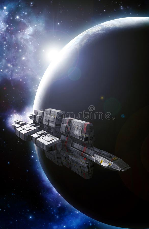 Spaceship and planet backlight stock illustration