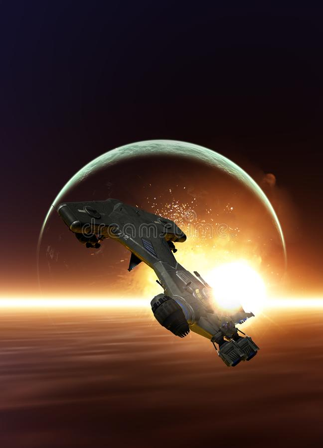 Spaceship and planet royalty free illustration