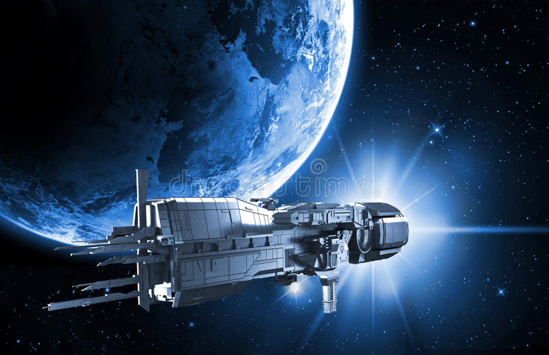 Spaceship with planet earth stock illustration