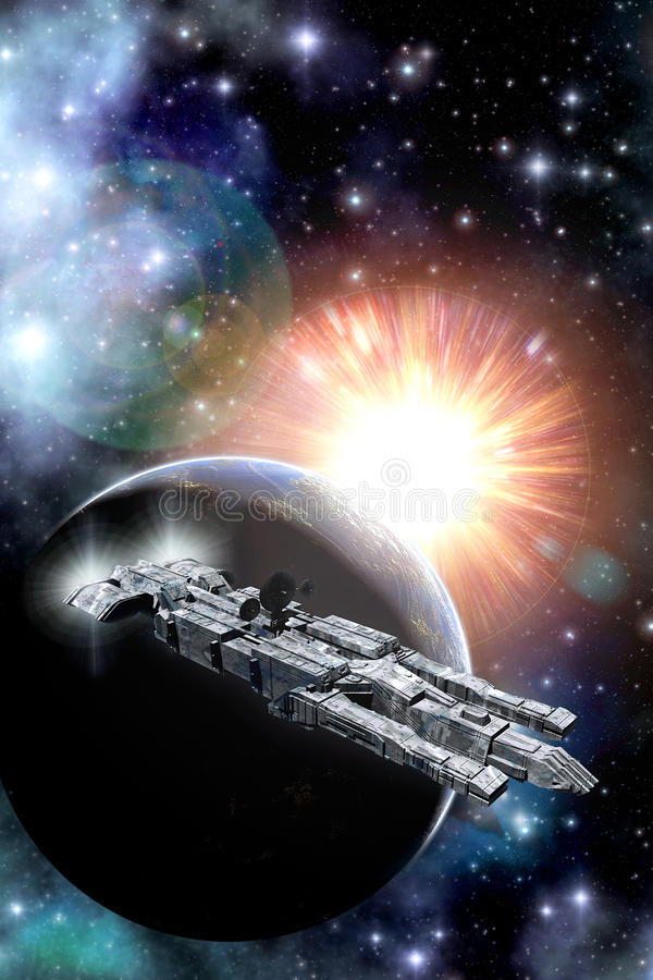 Spaceship planet and sun stock illustration