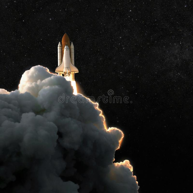 Spaceship rocket and starry sky. spacecraft flies into space wit royalty free stock photo