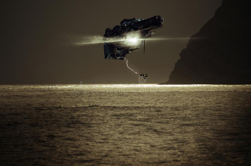 Spaceship over sea royalty free illustration