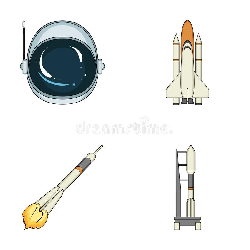 A spaceship in space, a cargo shuttle, A launch pad, an astronaut`s helmet. Space technology set collection icons in. Cartoon style vector symbol stock royalty free illustration