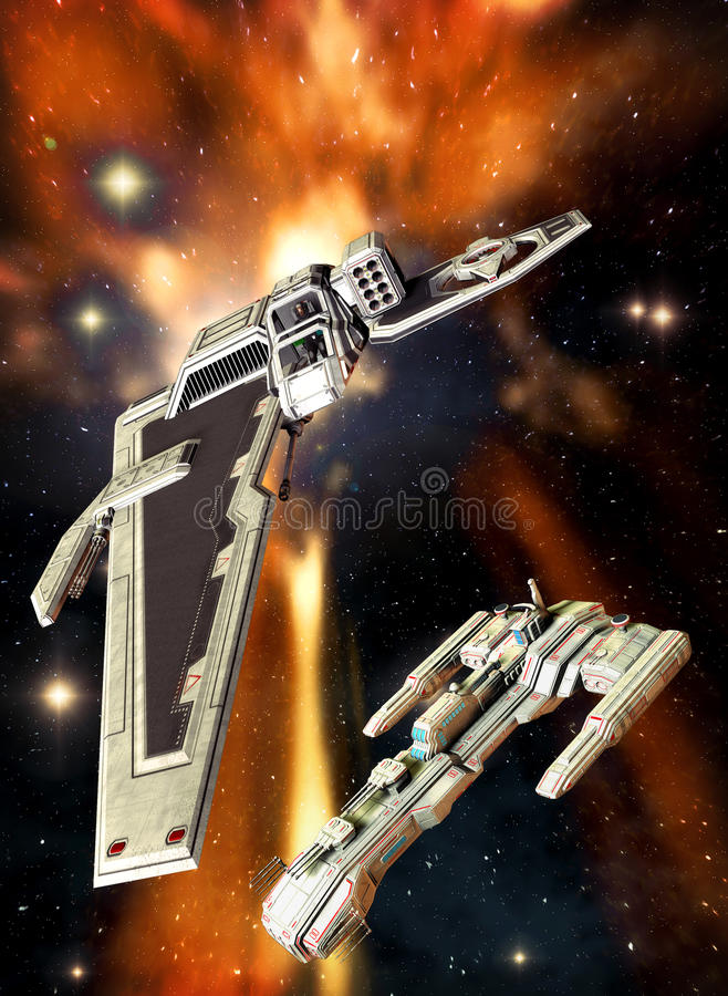 Spaceship space fighter. A space fighter with a capital ship background in 3d stock illustration